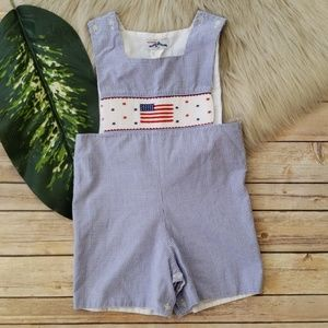 Silly Goose Hand Smocked USA Flag Romper